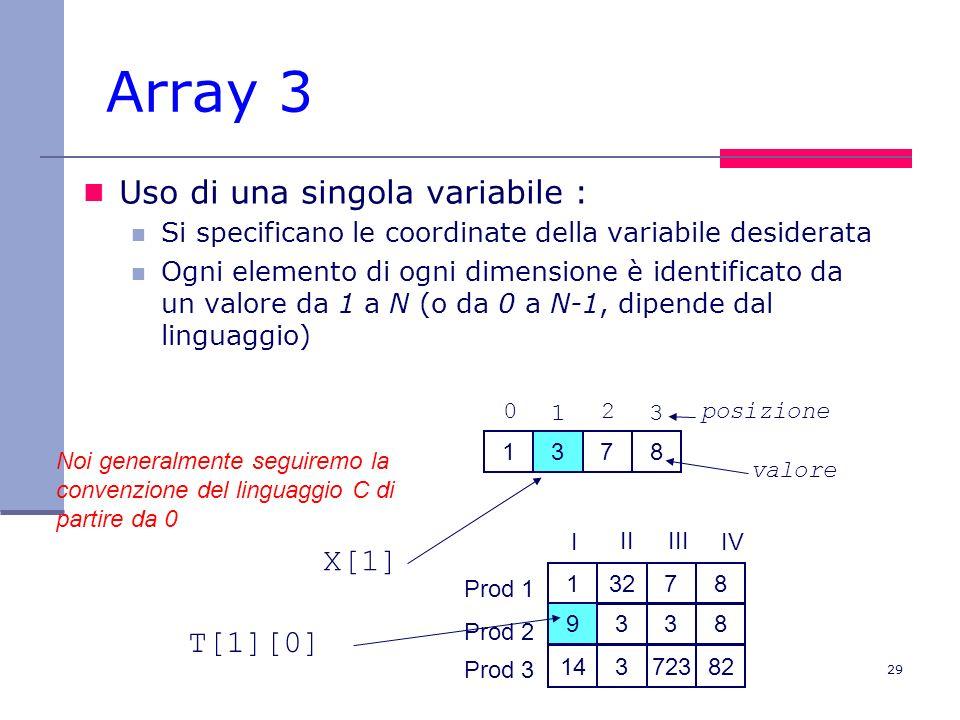 Array 3 Uso di una singola variabile : X[1] T[1][0]